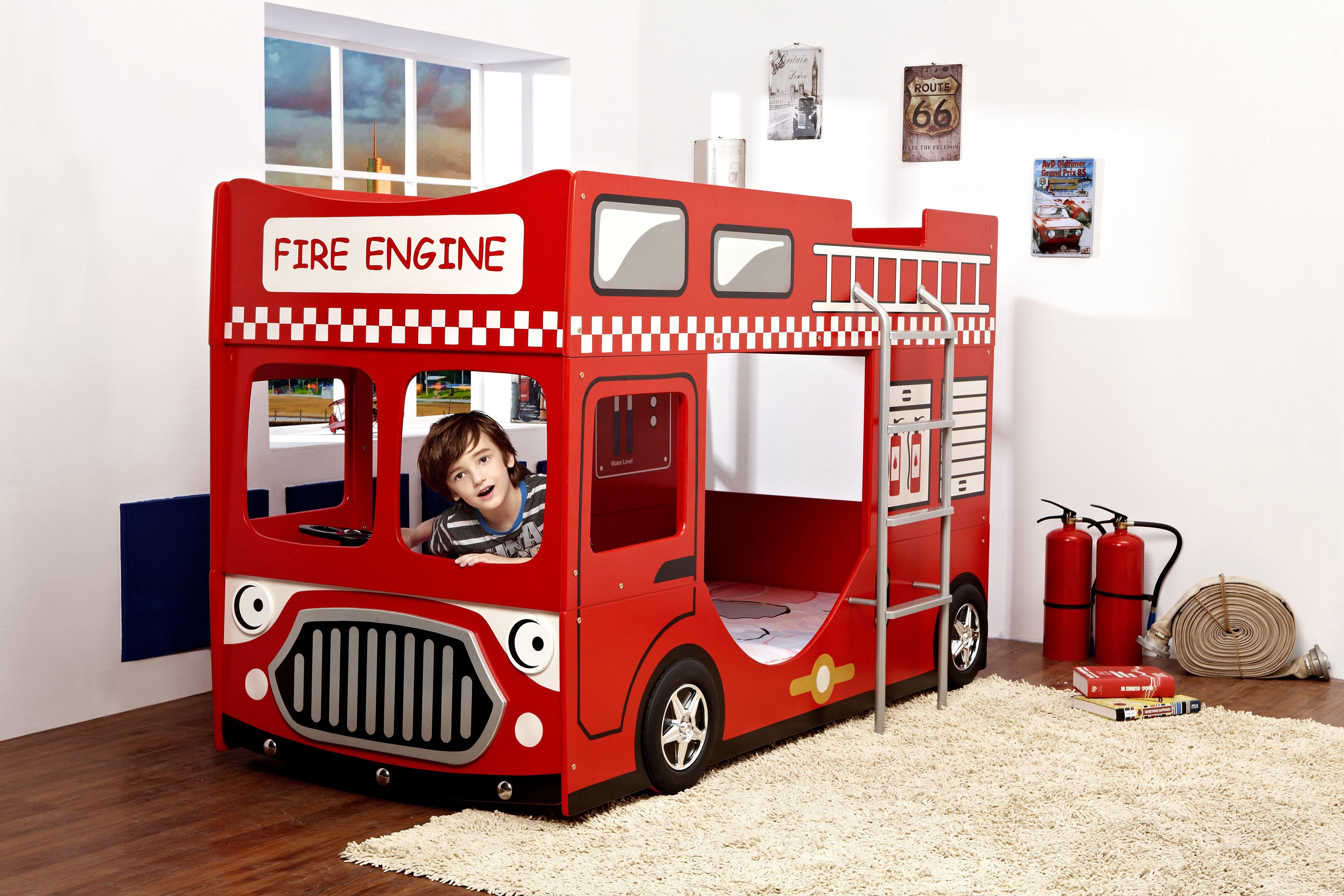Ypperlig Brannbil køyeseng 160x70 - INKLUDERT MADRASSER OO-99