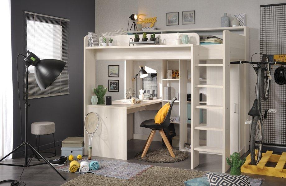Hyggelig Higher Loftseng med skrivebord og garderobe - Drommerom LQ-45