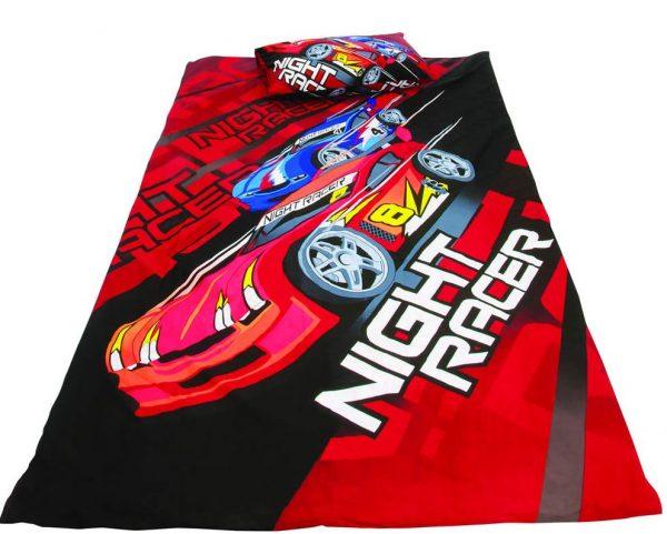 sengesett bil night racer
