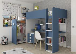 loftseng med garderobe og skrivebord