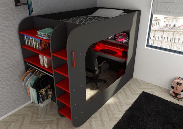 loftseng med skrivebord