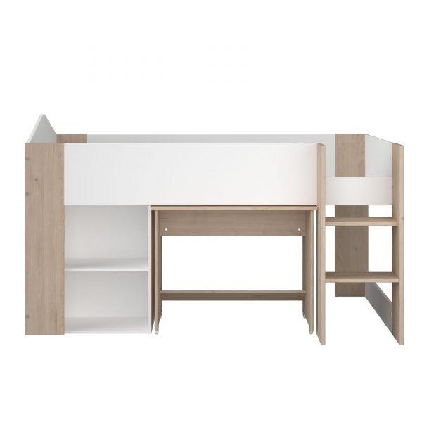 halvhøy seng med skrivepult