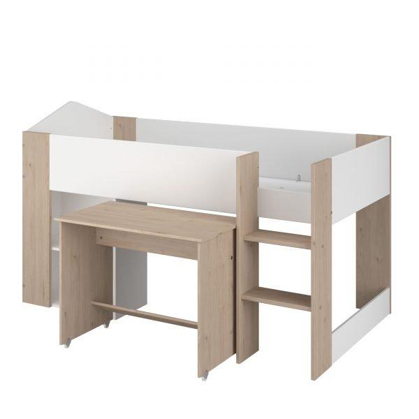 halvhøy seng med skrivebord